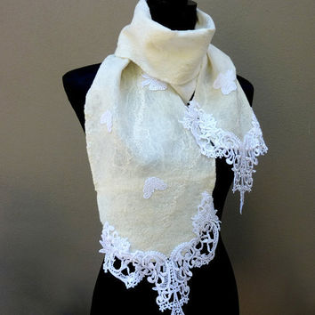 White Wool Scarf Scarf Silk and Wool Felted Scarves by sesenarts