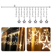 8 Modes Festival Star Curtain Fancy LED String Light  Christmas Wedding Party Birthday Room Hotel Decoration Light  FULI