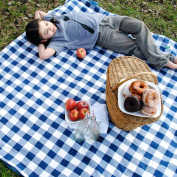 ORGANIC Picnic Blanket - XL Blue Gingham Quilted Food Outdoors Blanket - Eco Friendly Beach Blanket (Exclusive to SewnNatural)