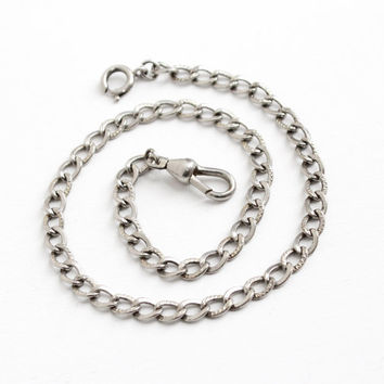 Vintage Silver Tone Pocket Watch Chain - Art Deco 1930s Swivel Clip & Spring Clasp Linked Jewelry Accessory