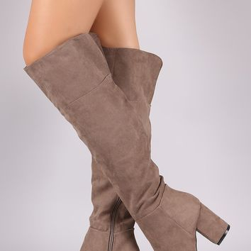 Bamboo Suede Slit Chunky Heeled Over-The-Knee Boots