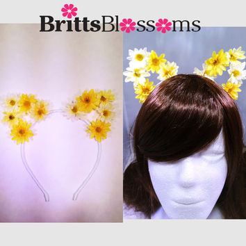 Yellow Daisy Cat Ears, Cat Ears, Flower Cat Eats, Floral Cat Ears, Ariana Grande, Bachelorette, Flower headband, Flower halo, Flower crown