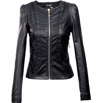 2016 Women's xxxl Motorcycle PU Leather Jacket Plus Size Female Zipper Outerwear jacket coat