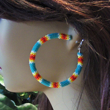 Hoop Earrings Beaded In Turquoise and Fire Colors Glass Seed Beads/Earrings/Stud Earrings/Gifts For Her/Beaded Earrings/Jewelry