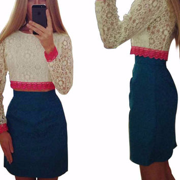 White and Blue Floral Lace Cropped Top and Mini Skirt