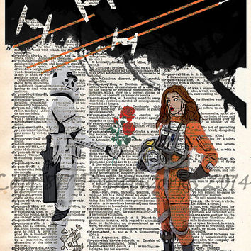 Star wars art print - Storm trooper in love - vintage star wars art - dictionary print