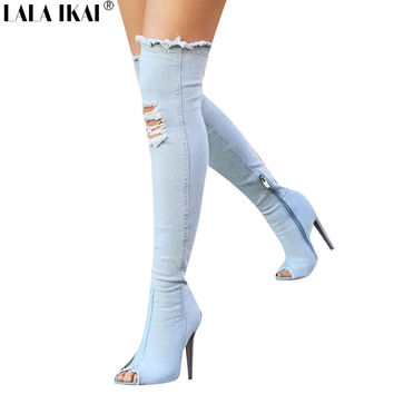 LALA IKAI Denim Women Tall Boots Fashion Holes Peep Toe High Heels Sexy Over The Knee boots Woman Shoes Hot Botas XWN1288-5