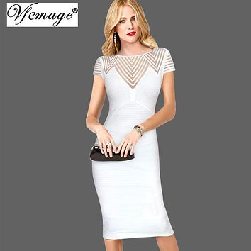 Vfemage Women Elegant Sexy Striped See Through Mesh Cap Sleeve Wear To Work Business Party Pencil Bodycon Dress 7175