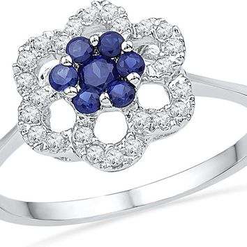 10kt White Gold Womens Round Lab-Created Blue Sapphire & Diamond Cluster Ring 1/8 Cttw