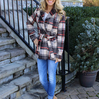Waisted in Plaid Jacket Brown