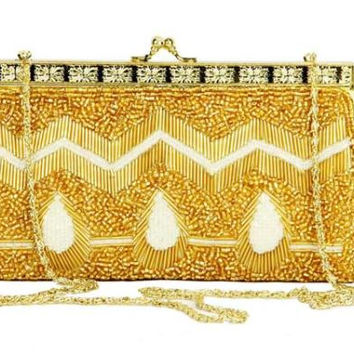 Gold And White Evening Bag - Carried By Shoulder With The Gold Chain Strap Or As A Clutch