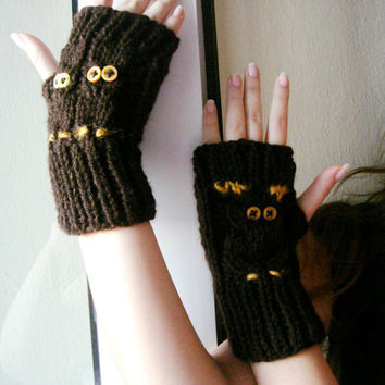 Brown Hand knit owl gloves , owl family mother and two children with botton