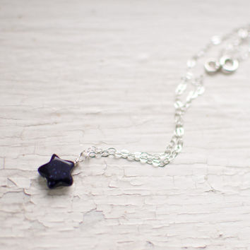 simple blue sparkly star charm sterling silver necklace by kkanu on Etsy