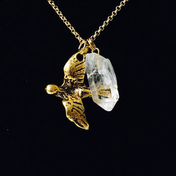 Beautiful Dainty Elegant Gold Filled Bird in Flight with Beautiful Brazilian Healing Crystal Necklace.