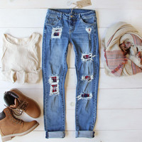 Plaid Patch Skinny Jeans