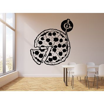 Vinyl Wall Decal Abstract Vintage Records Disk Pizza Logo Of Cafe Stickers Mural (g2734)
