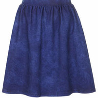 Denim Look Flippy Skirt - Denim Stonew