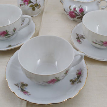Vintage Moss Rose China Cups and Saucers, Vintage Made in Japan China, 3 Teacups or Coffee Cups with Saucers, Mid Century China