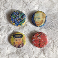 Vincent van Gogh pins // Set of four pinback buttons // 3cm diameter