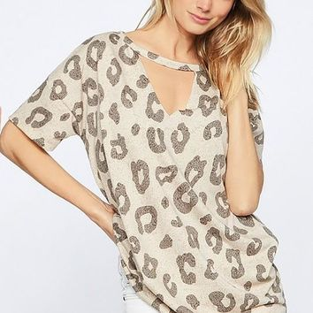 Taupe Leopard Short Sleeve Top