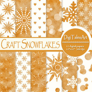 "Winter digital paper ""Craft Snowflakes"", craft Christmas, winter background, craft paper background, snowflakes clipart paper, hearts, bokeh"