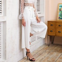 Metal Ring Wide Leg Pants