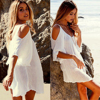 New Fahsion Women Sexy Off Shoulder Kimonos Dress Clothing Cover Top Blouse Maxi Boho Beach Tunic Dress