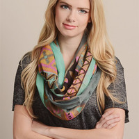 Patchwork Tribal Infinity Scarf-Turquoise/Multi
