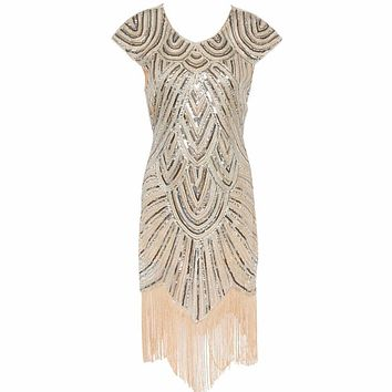 Women 1920s Diamond Sequined Embellished Fringed Great Gatsby Flapper Dress Cap Sleeve Retro Midi Party Dress Ukraine Vestido