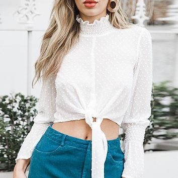 Through Women Blouse Shirt Ruffle Lace Sexy Crop Top Solid Long Sleeve Chiffon Blouse