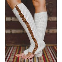 Ivory Leg Warmers Leather Trim Thick Warm Waffle Knit With Brown Genuine Cowhide Accents Brass Snaps