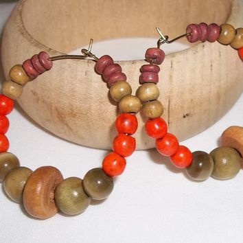 "CLEARANCE ""Autumn Tones"" Bohemian Beaded 40mm Gold Tone Hoops Hand Crafted by Kat's Kreations"
