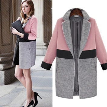 Contrast Color Turn-down Collar Mid-length Woolen Coat