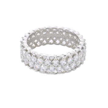 Women's CZ Eternity Ring Band 8mm Wide 925 Sterling Silver