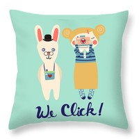"We Click Throw Pillow 14"" x 14"""