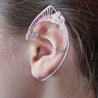 Pair of Elf Ear Cuffs with Genuine Rose Quartz, Renaissance, Elven