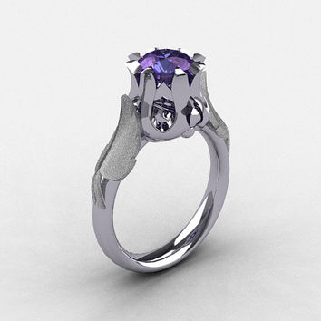 Nature Classic 18K White Gold 2.0 Carat Alexandrite Wedding Ring, Engagement Ring NN105-18KWG2AL