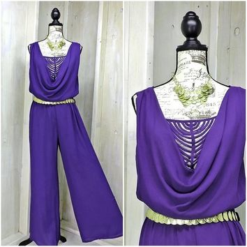 Sexy Chiffon 80s jumpsuit / Purple / party / evening / wide leg / Palazzo pants / size S / M / includes belt and necklace