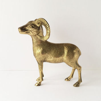 Solid Brass Ram Statue, Vintage Ram Figurine, Large Ram Figurine, Gifts For Aries, Library Cabin Lodge Ranch Decor, Vintage Brass Decor