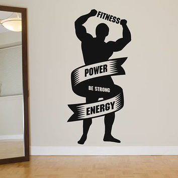 Fitness Power Energy Wall Decal, Gym Workout Wall Sticker, Garage Gym Wall Decor, Fitness Motivation Quote Wall Decal, Gym Wall Mural se101