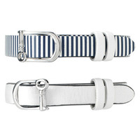 Single Leather Band-White/Pinstripe - Silver