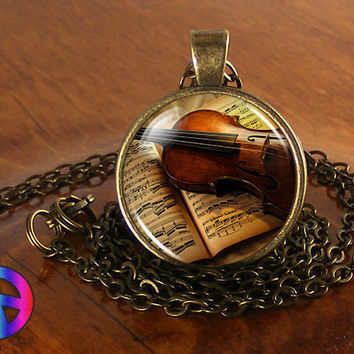 Handmade Music Lovers Vintage Violin Fashion Glass Pendant Necklace Jewelry Gift