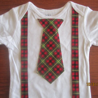 Boy red green plaid outfit, Boy christmas outfit, Baby christmas bodysuit, Boy red green plaid onsie, boy Christmas neck tie outfit
