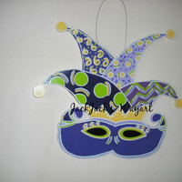 Mardi Gras Door Hanger Mask: Louisiana art, Wooden Mardi Gras, Festive Decor, Fleur de lis, Doorhanger, New Orleans sign, Nola sign, Mask