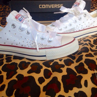 Ombré Effect Rhinestone Converse with Ribbon Laces