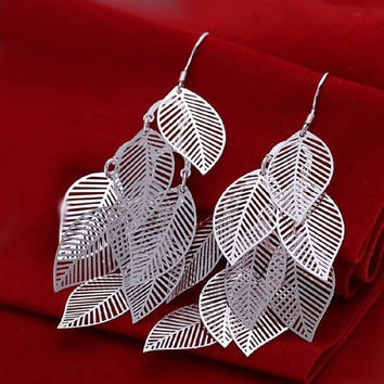 Chic Fashion Jewelry 925 Silver Plated Stud Dangle Earings Eardrop A Banch Of Leaves Christmas Gift