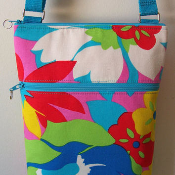 SUMMER Mod Abstract Floral Multi-Color Bright Small Zipper Hipster/Shoulder/Crossbody Bag/Purse/Nook/Kindle/I Pad Mini/E-Reader Holder
