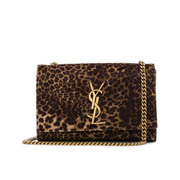 Saint Laurent Small Leopard Print Velvet Monogramme Kate Chain Bag in Natural | FWRD