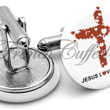 Jesus Loves You Cross Cufflinks