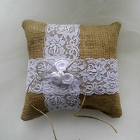 Burlap ring bearer pillow, rustic ring bearer pillow, shabby chic ring bearer pillow, burlap and lace, handmade pillow